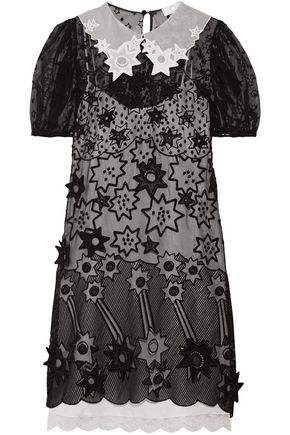 CHLOÉ Layered embroidered silk-chiffon mini dress