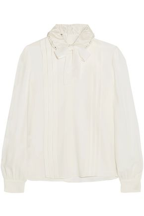 MIU MIU Pussy-bow embellished crepe de chine blouse