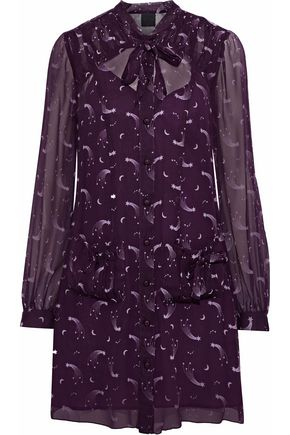 ANNA SUI Pussy-bow printed chiffon mini shirt dress