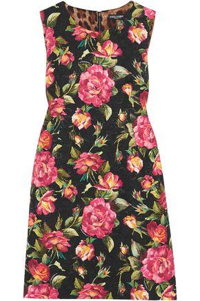 DOLCE & GABBANA Floral-print cotton-blend cloqué mini dress
