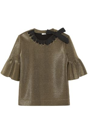 FENDI Grosgrain-trimmed metallic neoprene top