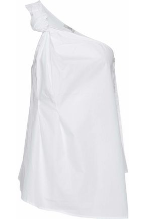 HOUSE OF DAGMAR One-shoulder cotton-poplin top