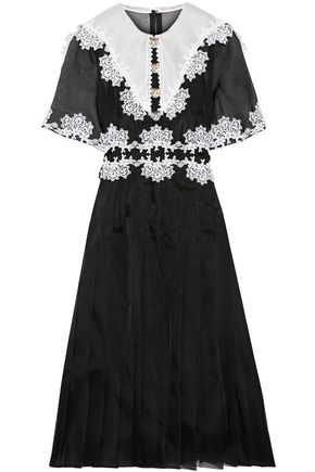DOLCE & GABBANA Embellished lace-trimmed pleated silk-blend organza dress