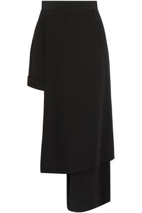 BALMAIN Asymmetric layered satin-crepe shorts
