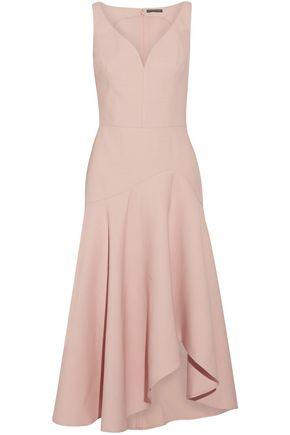 ALEXANDER MCQUEEN Asymmetric wool-blend midi dress
