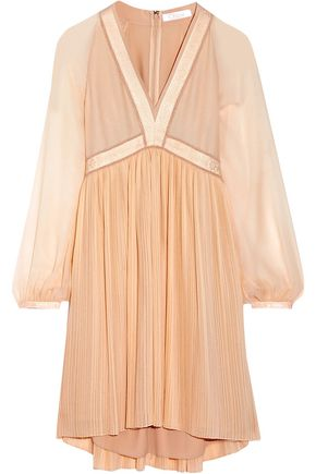 CHLOÉ Plissé silk-georgette mini dress