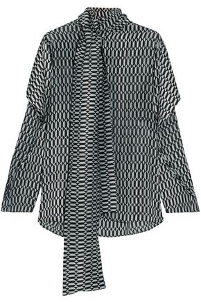 FENDI Pussy-bow silk-blend jacquard blouse