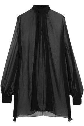 ALEXANDER MCQUEEN Gathered silk-georgette blouse