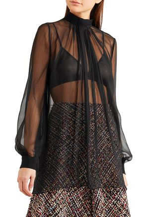 88bf72962ef4fe ... ALEXANDER MCQUEEN Gathered silk-georgette blouse ...