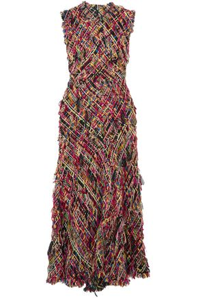 ALEXANDER MCQUEEN Fringed tweed midi dress
