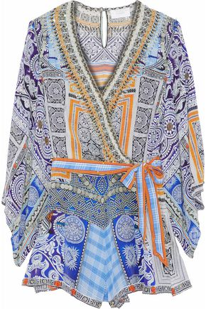 CAMILLA Wrap-effect crystal-embellished printed silk playsuit