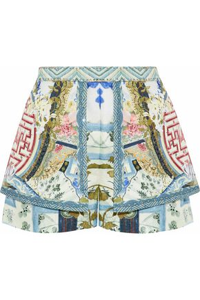 CAMILLA Echoes of Ehru embellished embossed cady shorts