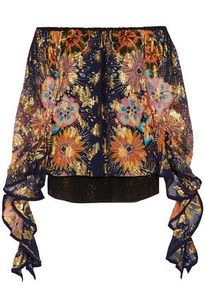 CHLOÉ Off-the-shoulder floral-print fil coupé silk blouse