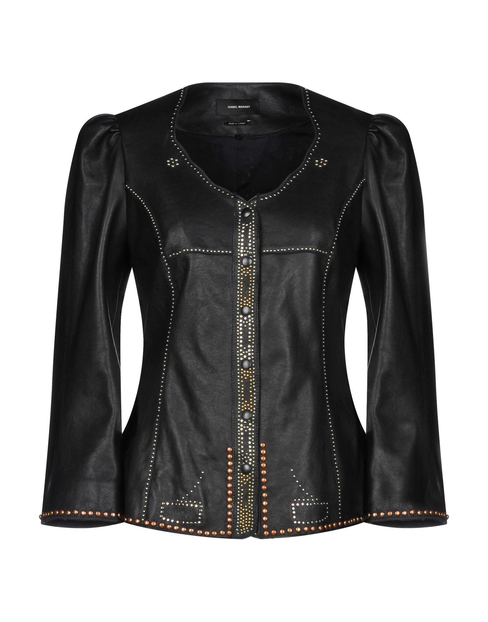 《送料無料》ISABEL MARANT レディース テーラードジャケット ブラック 36 100% 羊革(ラムスキン)