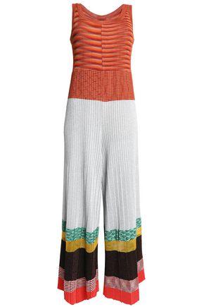 MISSONI Metallic color-block crochet-knit jumpsuit