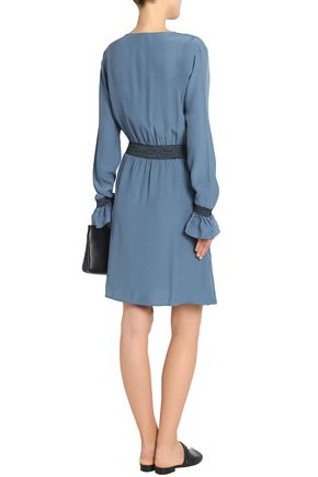 HOUSE OF DAGMAR Smocked chambray mini dress