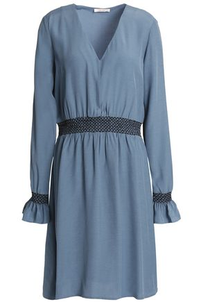 HOUSE OF DAGMAR Smocked chambray mini dress