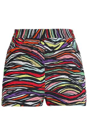 MISSONI Printed cotton-blend crochet-knit shorts