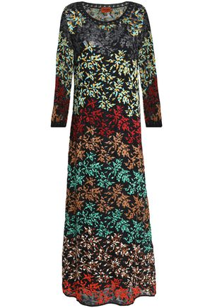 MISSONI Embroidered crochet-knit midi dress