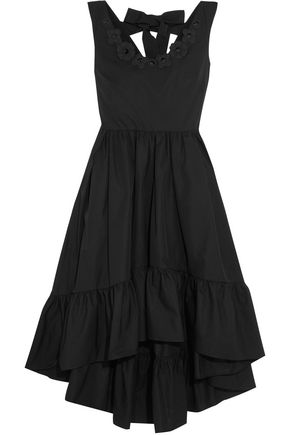 FENDI Tie-back floral-appliquéd cotton-taffeta midi dress