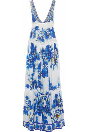 CAMILLA Ring of Roses embellished floral-print silk maxi dress