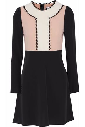 REDValentino Color-block flared crepe de chine mini dress