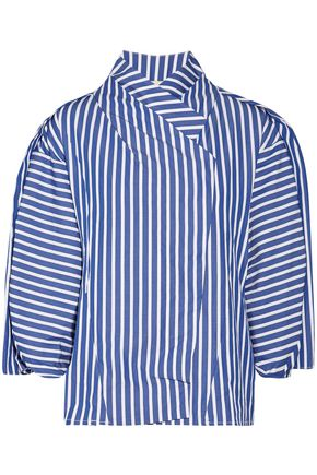 A.W.A.K.E. Octopus Geisha striped cotton-poplin blouse