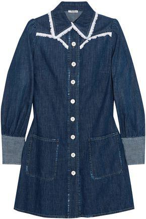 MIU MIU Broderie anglaise-trimmed denim mini shirt dress