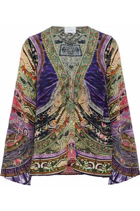 CAMILLA Ties That Bind Us embellished printed silk tunic