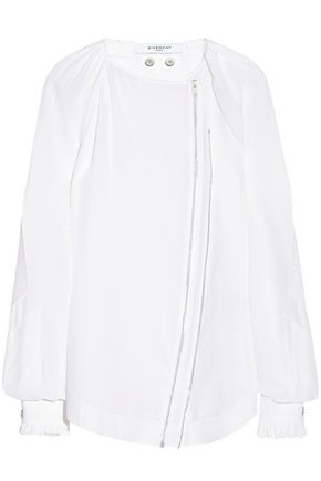 GIVENCHY Zip-detailed silk top