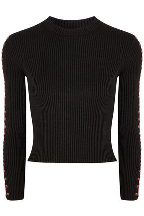Lace Up Ribbed Silk Blend Top by Alexander Mcqueen