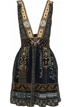CAMILLA For The Love Of Lhasa embellished printed silk mini dress