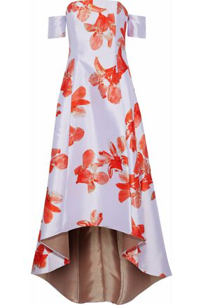 SACHIN & BABI Off-the-shoulder floral-print duchesse satin-twill gown