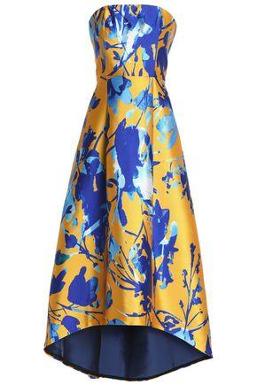 SACHIN & BABI Strapless pleated printed satin jacquard gown