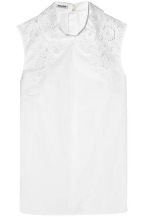 MIU MIU Camicie broderie anglaise cotton-poplin top