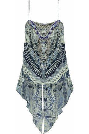 CAMILLA Tales of Batik layered crystal-embellished printed silk blouse