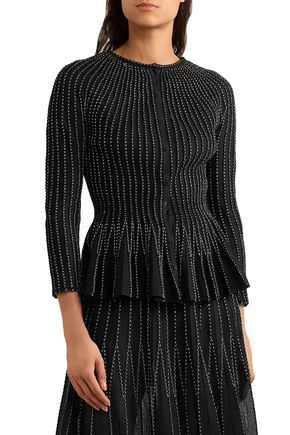 ALEXANDER MCQUEEN Pleated metallic silk-blend peplum cardigan