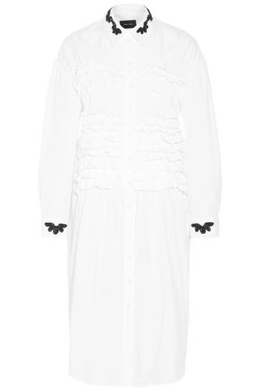SIMONE ROCHA Bead-embellished ruffled cotton-poplin shirt dress