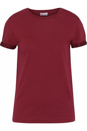 Point D'esprit Trimmed Cotton Jersey T Shirt by Red Valentino