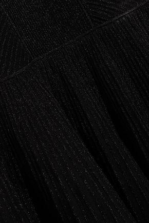 ALEXANDER MCQUEEN Fluted metallic ribbed wool-blend mini dress
