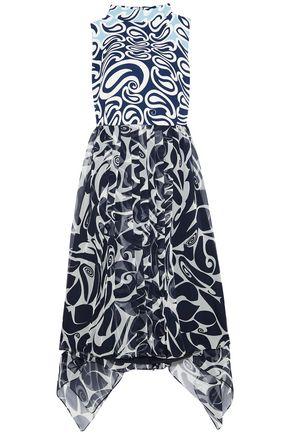 MIU MIU Printed crepe and silk-chiffon dress