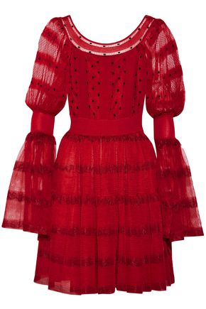 ALEXANDER MCQUEEN Stretch knit-paneled silk-blend point d'esprit mini dress