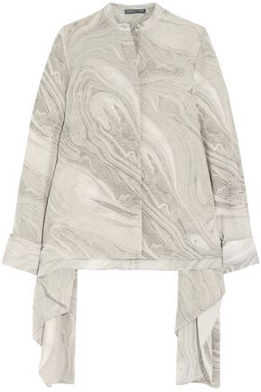 ALEXANDER MCQUEEN Draped printed silk blouse