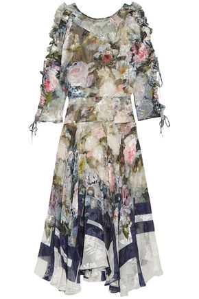 PREEN by THORNTON BREGAZZI Jenna floral-print devoré silk-blend chiffon midi dress
