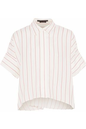 ALICE + OLIVIA JEANS Pinstriped voile shirt