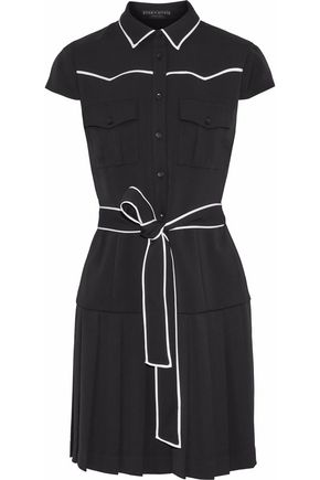 ALICE + OLIVIA Yoko pleated crepe mini shirt dress