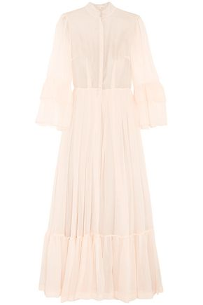 MERCHANT ARCHIVE Gathered pleated silk-chiffon gown