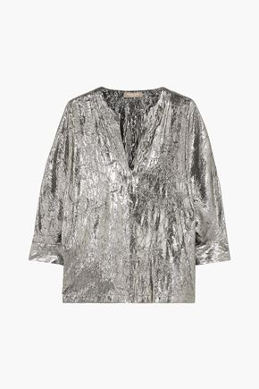MICHAEL KORS COLLECTION Crinkled silk-blend lamé blouse