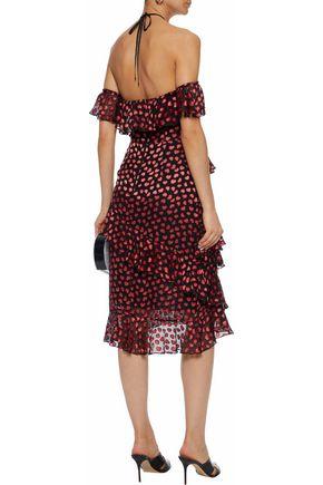 ALICE + OLIVIA Off-the-shoulder ruffled printed fil coupé chiffon halterneck dress