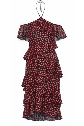 ALICE + OLIVIA Off-the-shoulder ruffled printed fil coupé chiffon halterneck dress